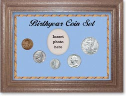 1944 Birth Year Coin Gift Set with a blue background and dark oak frame THUMBNAIL
