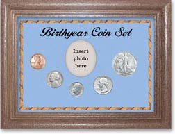 1947 Birth Year Coin Gift Set with a blue background and dark oak frame THUMBNAIL