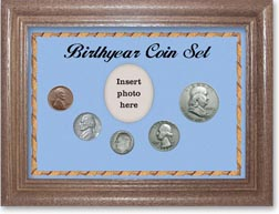 1953 Birth Year Coin Gift Set with a blue background and dark oak frame THUMBNAIL