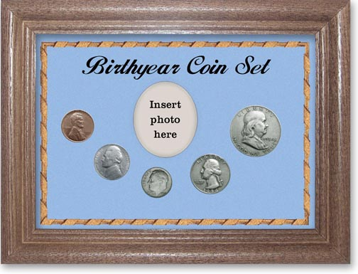 1954 Birth Year Coin Gift Set with a blue background and dark oak frame LARGE