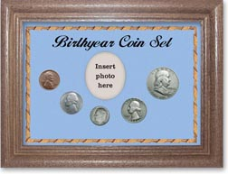 1954 Birth Year Coin Gift Set with a blue background and dark oak frame THUMBNAIL