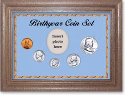 1957 Birth Year Coin Gift Set with a blue background and dark oak frame THUMBNAIL