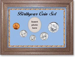 1965 Birth Year Coin Gift Set with a blue background and dark oak frame THUMBNAIL
