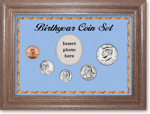 2020 Birth Year Coin Gift Set with a blue background and dark oak frame LARGE