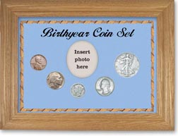 1936 Birth Year Coin Gift Set with a blue background and wheat frame THUMBNAIL