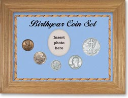 1937 Birth Year Coin Gift Set with a blue background and wheat frame THUMBNAIL