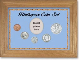 1939 Birth Year Coin Gift Set with a blue background and wheat frame THUMBNAIL