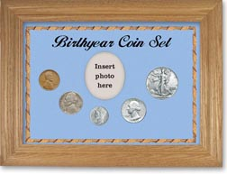 1940 Birth Year Coin Gift Set with a blue background and wheat frame THUMBNAIL