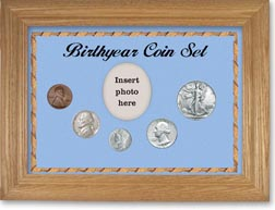 1941 Birth Year Coin Gift Set with a blue background and wheat frame THUMBNAIL