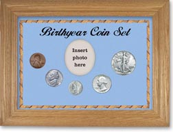 1942 Birth Year Coin Gift Set with a blue background and wheat frame THUMBNAIL