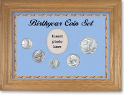 1943 Birth Year Coin Gift Set with a blue background and wheat frame THUMBNAIL