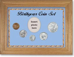 1944 Birth Year Coin Gift Set with a blue background and wheat frame THUMBNAIL