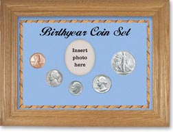 1946 Birth Year Coin Gift Set with a blue background and wheat frame THUMBNAIL