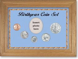 1947 Birth Year Coin Gift Set with a blue background and wheat frame THUMBNAIL