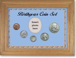 1948 Birth Year Coin Gift Set with a blue background and wheat frame THUMBNAIL
