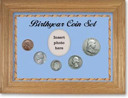 1953 Birth Year Coin Gift Set with a blue background and wheat frame THUMBNAIL