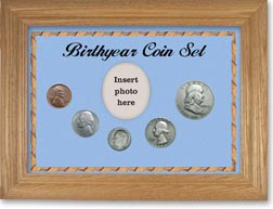 1954 Birth Year Coin Gift Set with a blue background and wheat frame THUMBNAIL