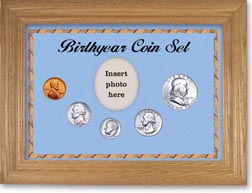 1957 Birth Year Coin Gift Set with a blue background and wheat frame THUMBNAIL