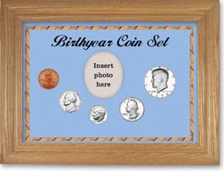 1970 Birth Year Coin Gift Set with a blue background and wheat frame THUMBNAIL