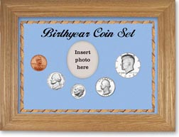 1972 Birth Year Coin Gift Set with a blue background and wheat frame THUMBNAIL
