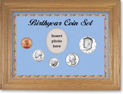 1974 Birth Year Coin Gift Set with a blue background and wheat frame THUMBNAIL