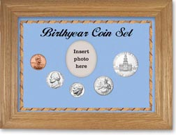 1975 Birth Year Coin Gift Set with a blue background and wheat frame THUMBNAIL