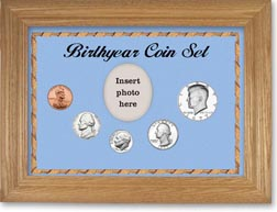 1977 Birth Year Coin Gift Set with a blue background and wheat frame THUMBNAIL