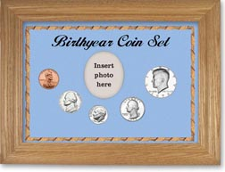 1979 Birth Year Coin Gift Set with a blue background and wheat frame THUMBNAIL