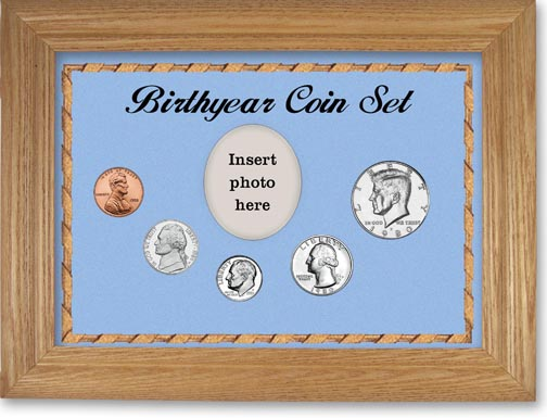 1980 Birth Year Coin Gift Set with a blue background and wheat frame LARGE