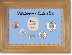 1982 Birth Year Coin Gift Set with a blue background and wheat frame THUMBNAIL