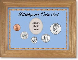 1985 Birth Year Coin Gift Set with a blue background and wheat frame THUMBNAIL
