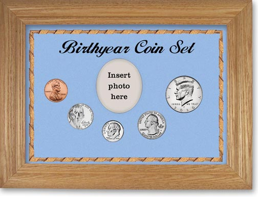 Birth Year Coin Gift Set with blue background and wheat frame LARGE