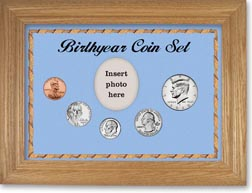 Birth Year Coin Gift Set with a blue background and dark oak frame THUMBNAIL