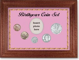 1936 Birth Year Coin Gift Set with a pink background and cherry frame THUMBNAIL