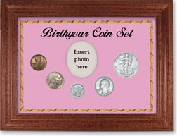 1937 Birth Year Coin Gift Set with a pink background and cherry frame THUMBNAIL