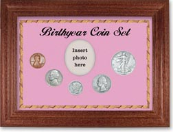 1938 Birth Year Coin Gift Set with a pink background and cherry frame THUMBNAIL