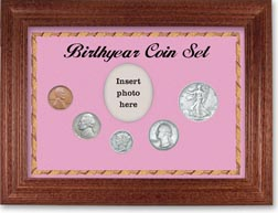 1939 Birth Year Coin Gift Set with a pink background and cherry frame THUMBNAIL