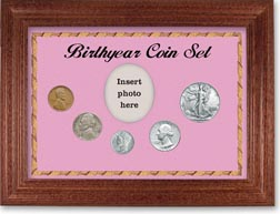 1940 Birth Year Coin Gift Set with a pink background and cherry frame THUMBNAIL