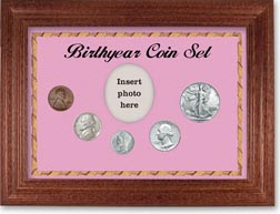 1941 Birth Year Coin Gift Set with a pink background and cherry frame THUMBNAIL