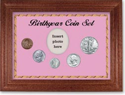 1942 Birth Year Coin Gift Set with a pink background and cherry frame THUMBNAIL