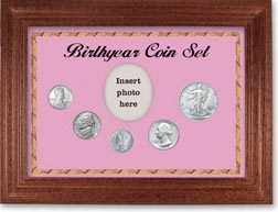 1943 Birth Year Coin Gift Set with a pink background and cherry frame THUMBNAIL