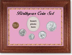 1944 Birth Year Coin Gift Set with a pink background and cherry frame THUMBNAIL