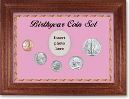 1946 Birth Year Coin Gift Set with a pink background and cherry frame THUMBNAIL