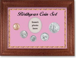 1947 Birth Year Coin Gift Set with a pink background and cherry frame THUMBNAIL