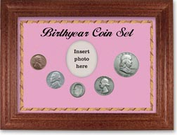 1949 Birth Year Coin Gift Set with a pink background and cherry frame THUMBNAIL