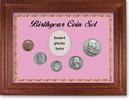1950 Birth Year Coin Gift Set with a pink background and cherry frame THUMBNAIL