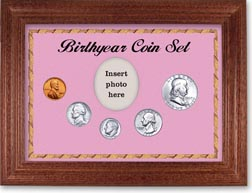 1957 Birth Year Coin Gift Set with a pink background and cherry frame THUMBNAIL