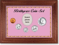 1967 Birth Year Coin Gift Set with a pink background and cherry frame THUMBNAIL