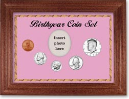 1970 Birth Year Coin Gift Set with a pink background and cherry frame THUMBNAIL