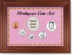 1974 Birth Year Coin Gift Set with a pink background and cherry frame THUMBNAIL